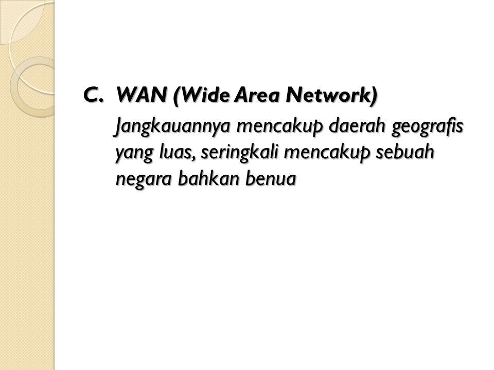 C.WAN (Wide Area Network) Jangkauannya mencakup daerah geografis yang luas, seringkali mencakup sebuah negara bahkan benua