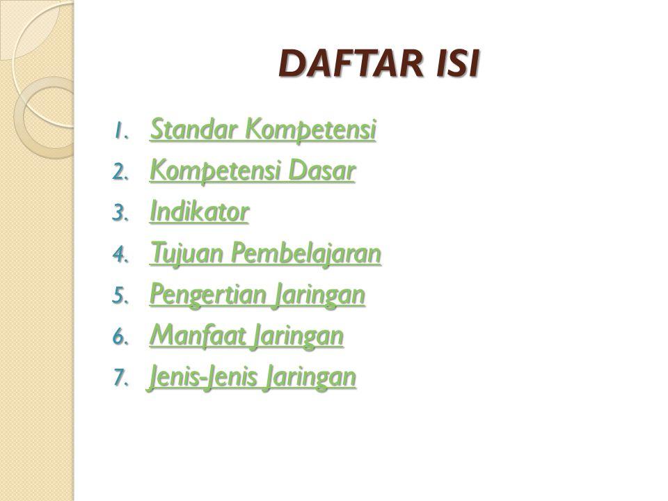 DAFTAR ISI 1. Standar Kompetensi Standar Kompetensi Standar Kompetensi 2. Kompetensi Dasar Kompetensi Dasar Kompetensi Dasar 3. Indikator Indikator 4.