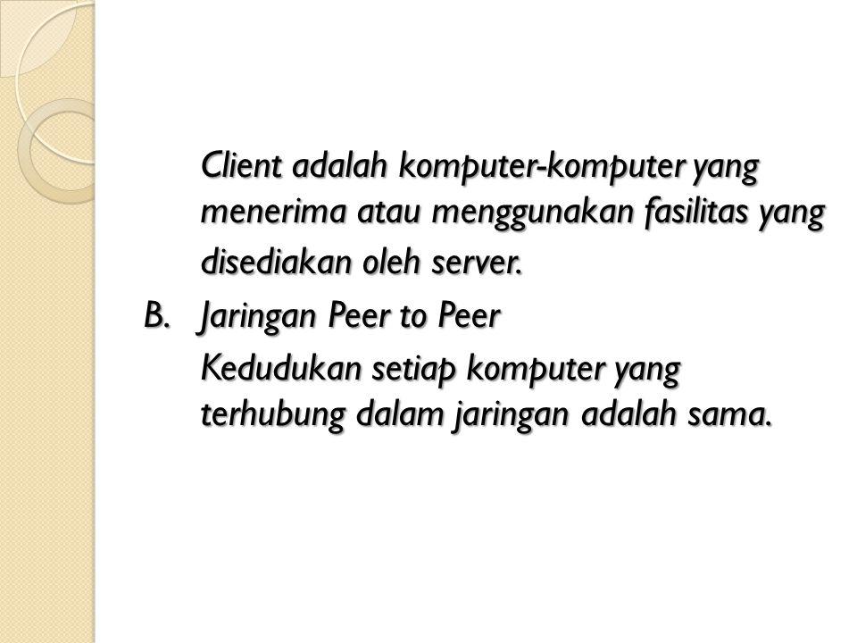 Client adalah komputer-komputer yang menerima atau menggunakan fasilitas yang disediakan oleh server. B.Jaringan Peer to Peer Kedudukan setiap kompute