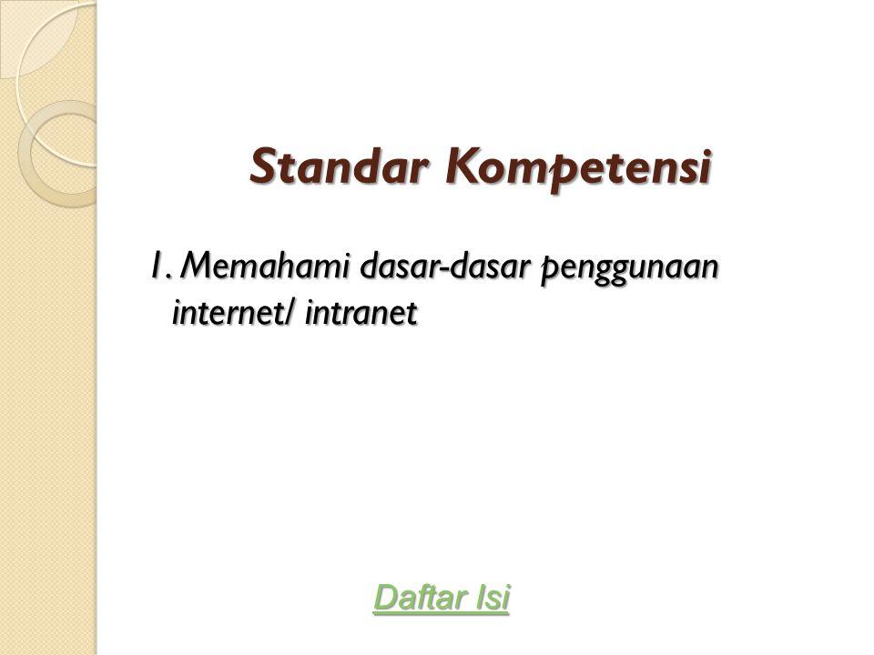 Standar Kompetensi 1. Memahami dasar-dasar penggunaan internet/ intranet Daftar Isi Daftar Isi