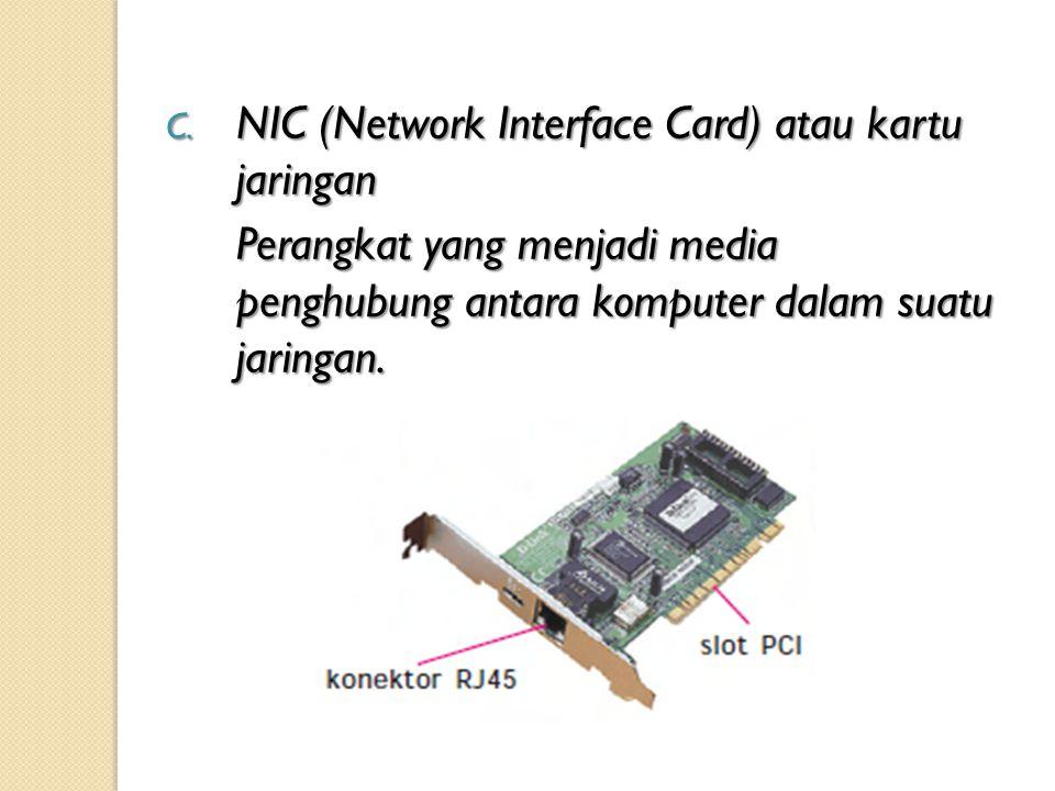 C. NIC (Network Interface Card) atau kartu jaringan Perangkat yang menjadi media penghubung antara komputer dalam suatu jaringan.
