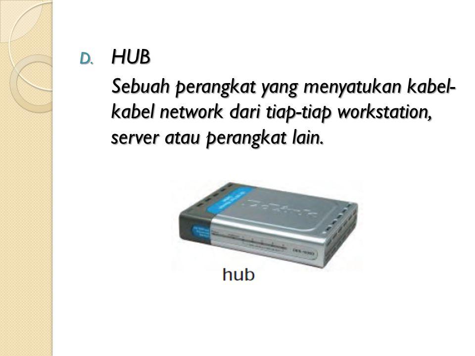D. HUB Sebuah perangkat yang menyatukan kabel- kabel network dari tiap-tiap workstation, server atau perangkat lain.