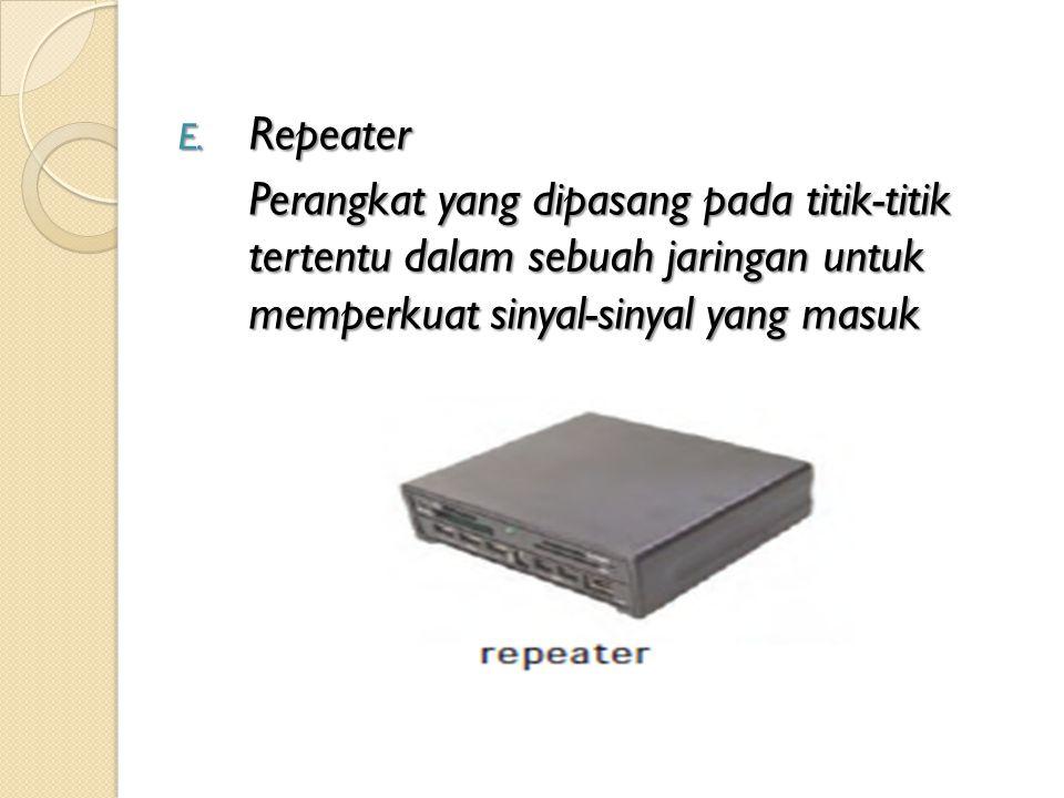E. Repeater Perangkat yang dipasang pada titik-titik tertentu dalam sebuah jaringan untuk memperkuat sinyal-sinyal yang masuk