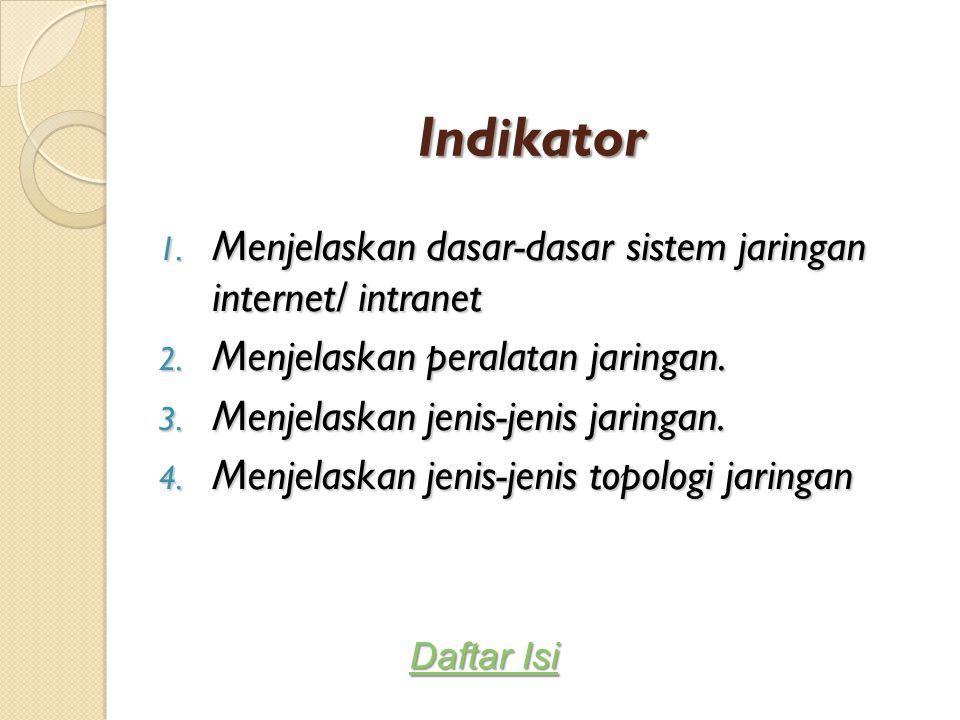 Indikator 1. Menjelaskan dasar-dasar sistem jaringan internet/ intranet 2. Menjelaskan peralatan jaringan. 3. Menjelaskan jenis-jenis jaringan. 4. Men