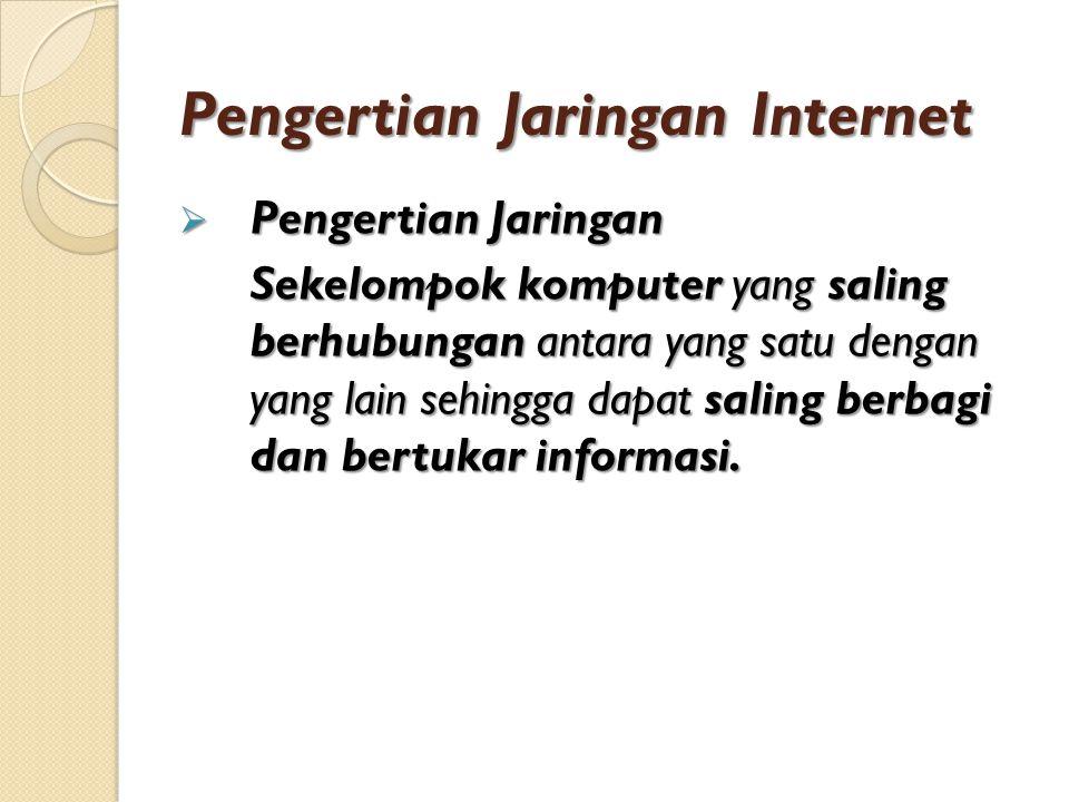 Pengertian Jaringan Internet  Pengertian Jaringan Sekelompok komputer yang saling berhubungan antara yang satu dengan yang lain sehingga dapat saling