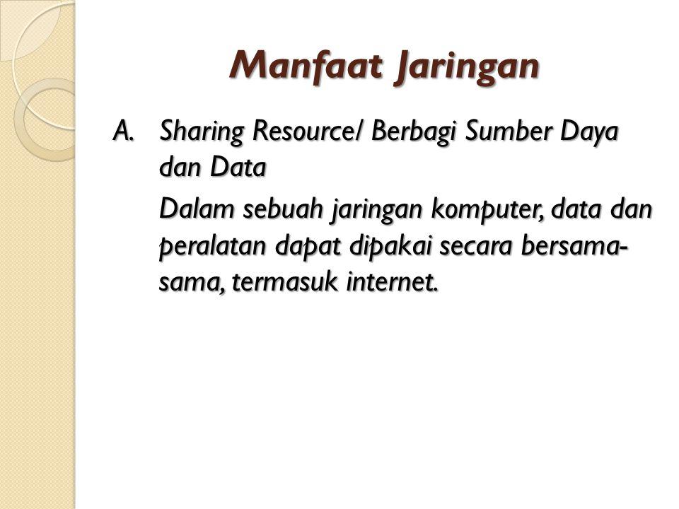 Manfaat Jaringan A.Sharing Resource/ Berbagi Sumber Daya dan Data Dalam sebuah jaringan komputer, data dan peralatan dapat dipakai secara bersama- sam