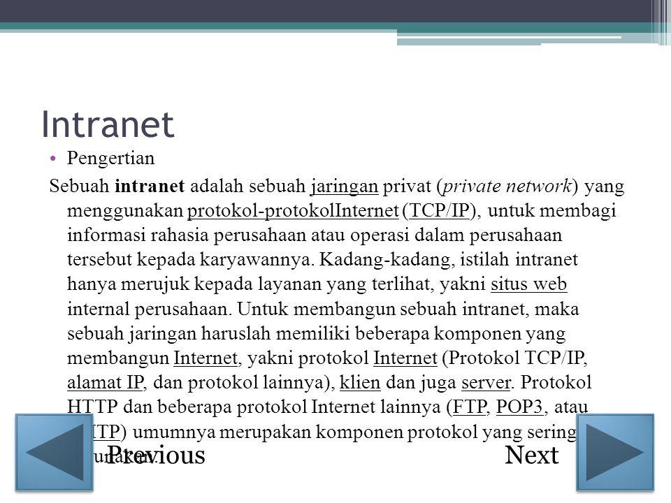 Intranet • Pengertian Sebuah intranet adalah sebuah jaringan privat (private network) yang menggunakan protokol-protokolInternet (TCP/IP), untuk memba