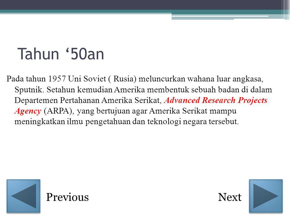 Tahun '50an Pada tahun 1957 Uni Soviet ( Rusia) meluncurkan wahana luar angkasa, Sputnik. Setahun kemudian Amerika membentuk sebuah badan di dalam Dep
