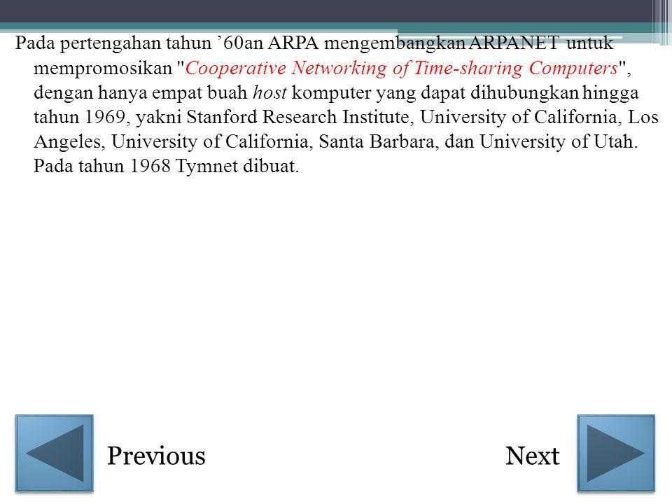 Pada pertengahan tahun '60an ARPA mengembangkan ARPANET untuk mempromosikan