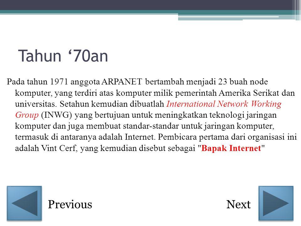 Pada tahun selanjutnya Ray Tomlinson berhasil menyempurnakan program e- mail yang ia ciptakan setahun yang lalu untuk ARPANET.