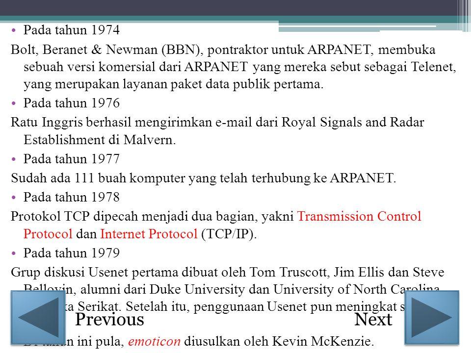 • Pada tahun 1974 Bolt, Beranet & Newman (BBN), pontraktor untuk ARPANET, membuka sebuah versi komersial dari ARPANET yang mereka sebut sebagai Telene