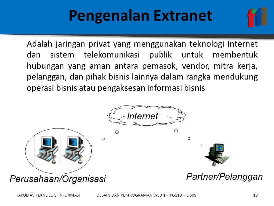 FAKULTAS TEKNOLOGI INFORMASI10DESAIN DAN PEMROGRAMAN WEB 1 – PG110 – 3 SKS Pengenalan Extranet Adalah jaringan privat yang menggunakan teknologi Inter