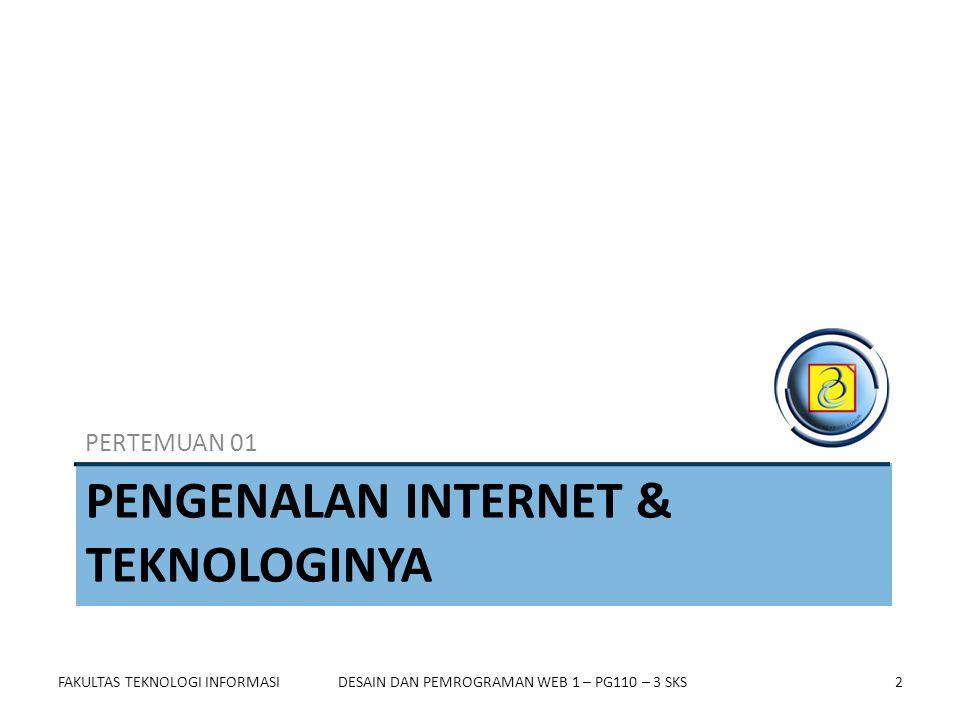 FAKULTAS TEKNOLOGI INFORMASI23DESAIN DAN PEMROGRAMAN WEB 1 – PG110 – 3 SKS Mempersiapkan Website Untuk membuat website diperlukan beberapa hal, antara lain : 1)Web browser 2)Hardware 3)Menguasai HTML 4)Koneksi Internet 5)Web space 6)Domain Name