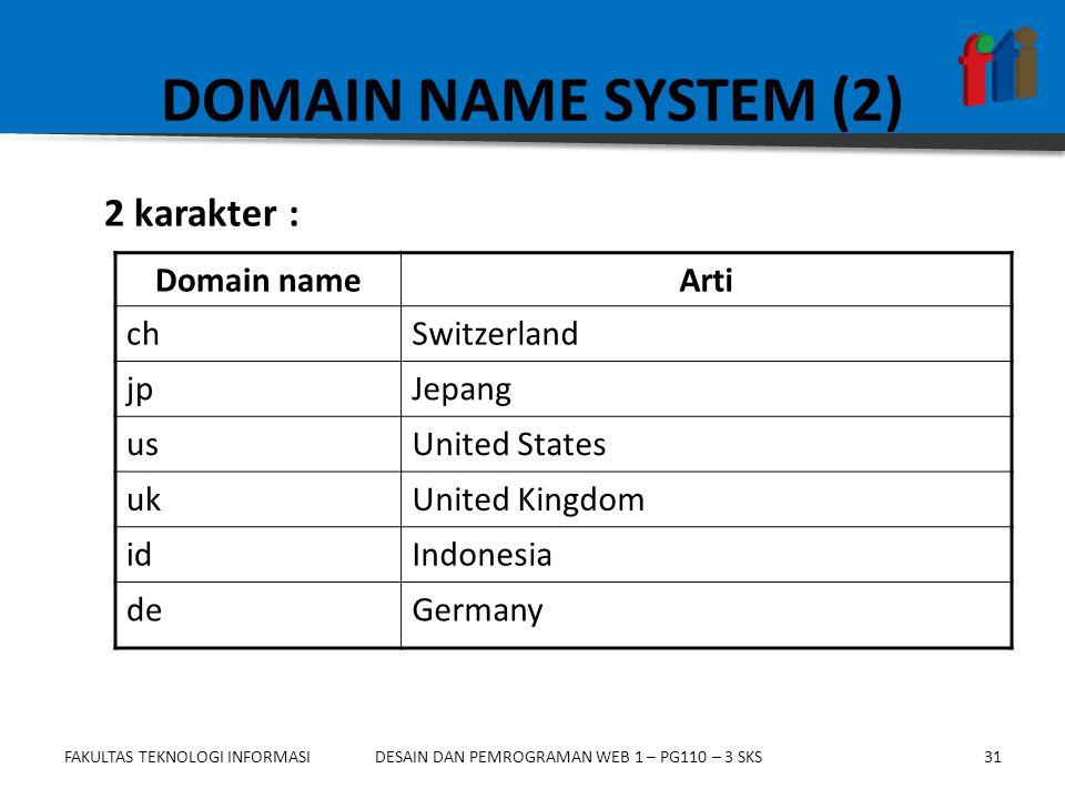FAKULTAS TEKNOLOGI INFORMASI31DESAIN DAN PEMROGRAMAN WEB 1 – PG110 – 3 SKS DOMAIN NAME SYSTEM (2) 2 karakter : Domain nameArti chSwitzerland jpJepang