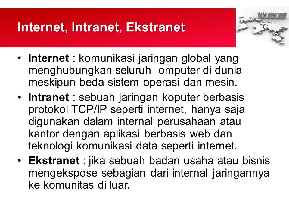 Internet, Intranet, Ekstranet •Internet : komunikasi jaringan global yang menghubungkan seluruh omputer di dunia meskipun beda sistem operasi dan mesin.