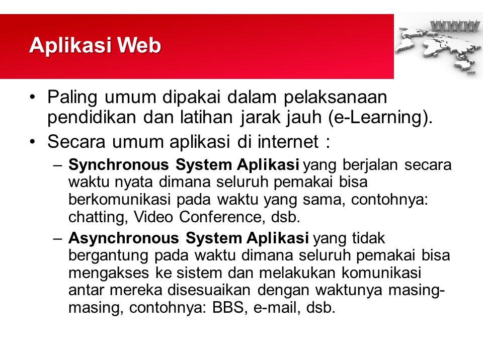 Aplikasi Web •Paling umum dipakai dalam pelaksanaan pendidikan dan latihan jarak jauh (e-Learning).
