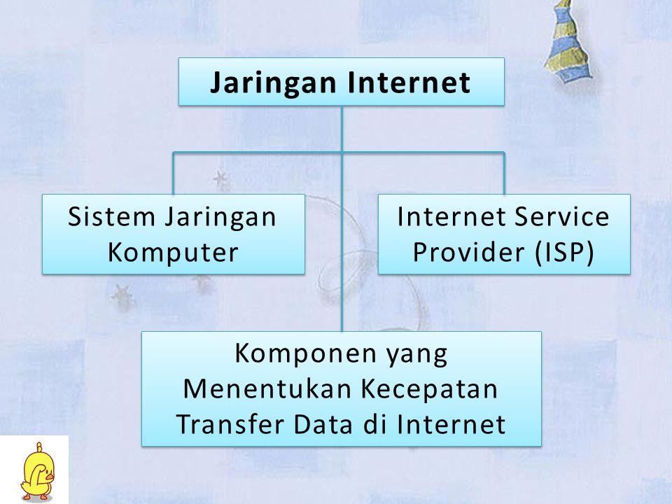 Jaringan Internet Sistem Jaringan Komputer Sistem Jaringan Komputer Internet Service Provider (ISP) Internet Service Provider (ISP) Komponen yang Menentukan Kecepatan Transfer Data di Internet Komponen yang Menentukan Kecepatan Transfer Data di Internet
