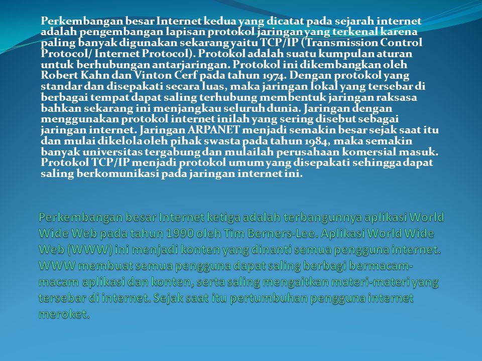 Perkembangan besar Internet kedua yang dicatat pada sejarah internet adalah pengembangan lapisan protokol jaringan yang terkenal karena paling banyak