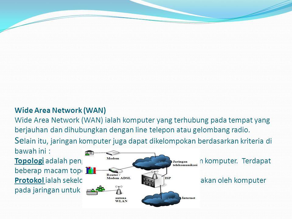 Metropolitan Area Network (MAN) Jaringan Area Metropolitan adalah suatu jaringan dalam suatu kota dengan transfer data berkecepatan tinggi, yang menghubungkan berbagai lokasi seperti kampus, perkantoran, pemerintahan, dan sebagainya.