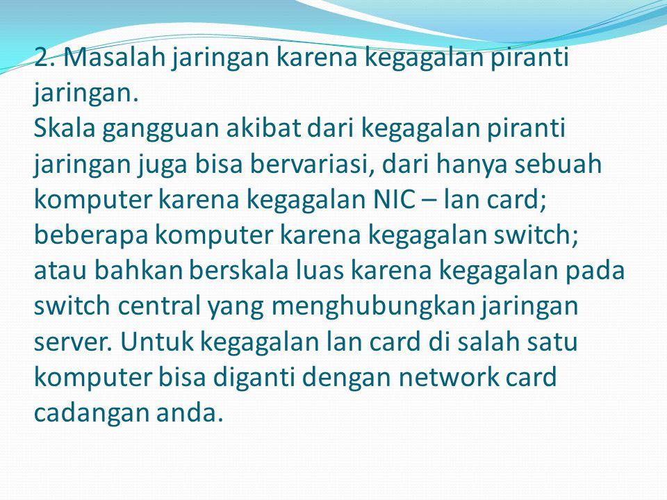 3.Masalah jaringan karena kegagalan system.
