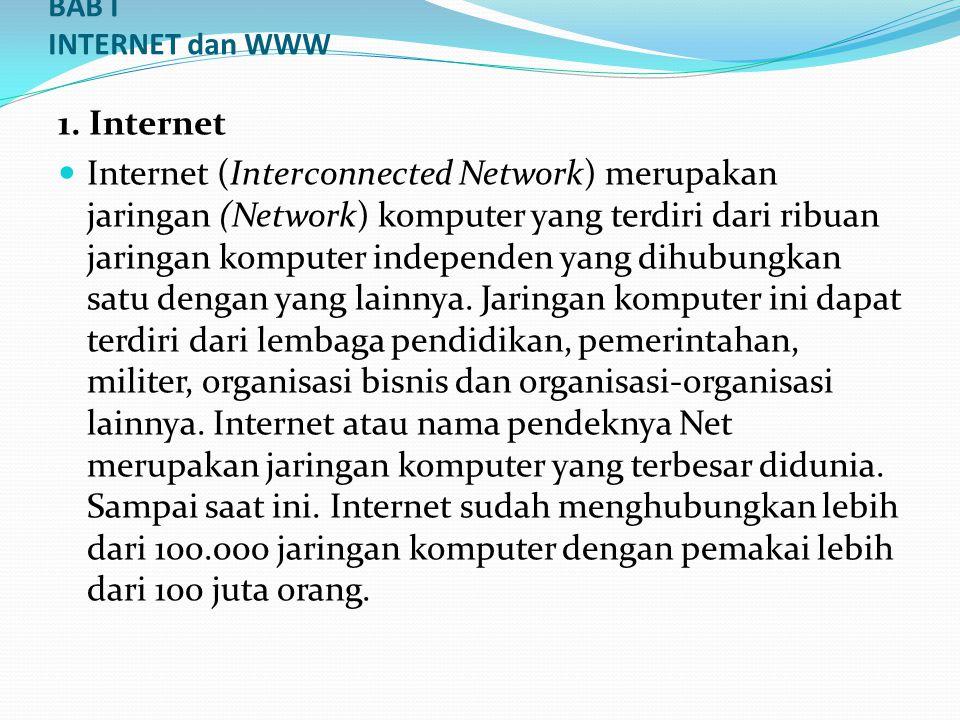 BAB I INTERNET dan WWW 1. Internet  Internet (Interconnected Network) merupakan jaringan (Network) komputer yang terdiri dari ribuan jaringan kompute