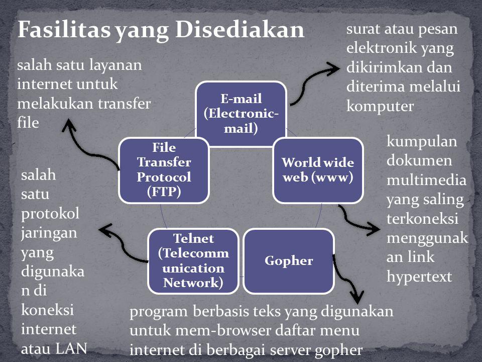 E-mail (Electronic- mail) World wide web (www) Gopher Telnet (Telecomm unication Network) File Transfer Protocol (FTP) surat atau pesan elektronik yan
