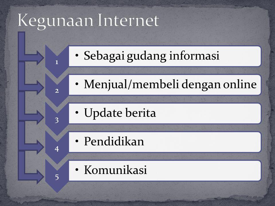 1 •Sebagai gudang informasi 2 •Menjual/membeli dengan online 3 •Update berita 4 •Pendidikan 5 •Komunikasi