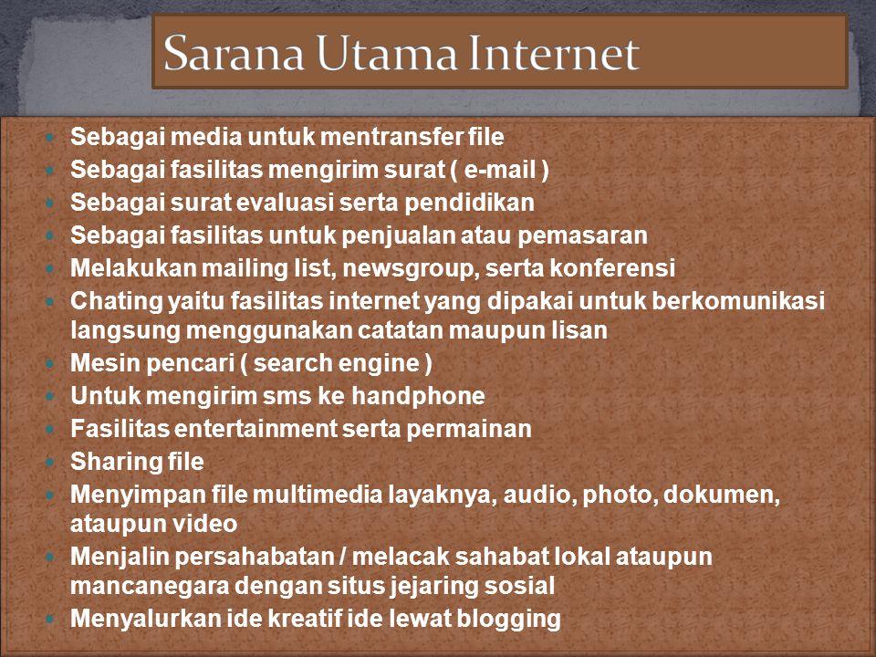  Sebagai media untuk mentransfer file  Sebagai fasilitas mengirim surat ( e-mail )  Sebagai surat evaluasi serta pendidikan  Sebagai fasilitas unt