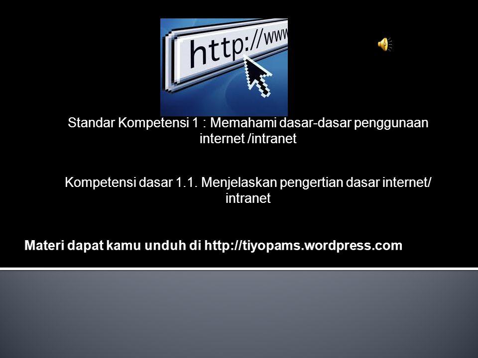 Standar Kompetensi 1 : Memahami dasar-dasar penggunaan internet /intranet Kompetensi dasar 1.1. Menjelaskan pengertian dasar internet/ intranet