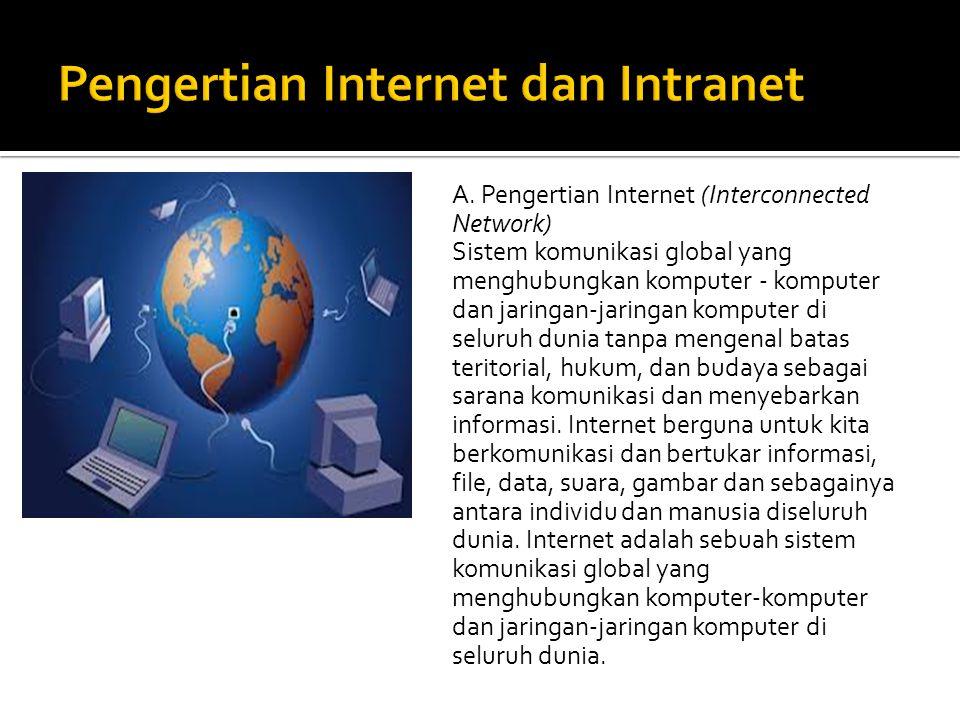 A. A. Pengertian Internet (Interconnected Network) Sistem komunikasi global yang menghubungkan komputer - komputer dan jaringan-jaringan komputer di s