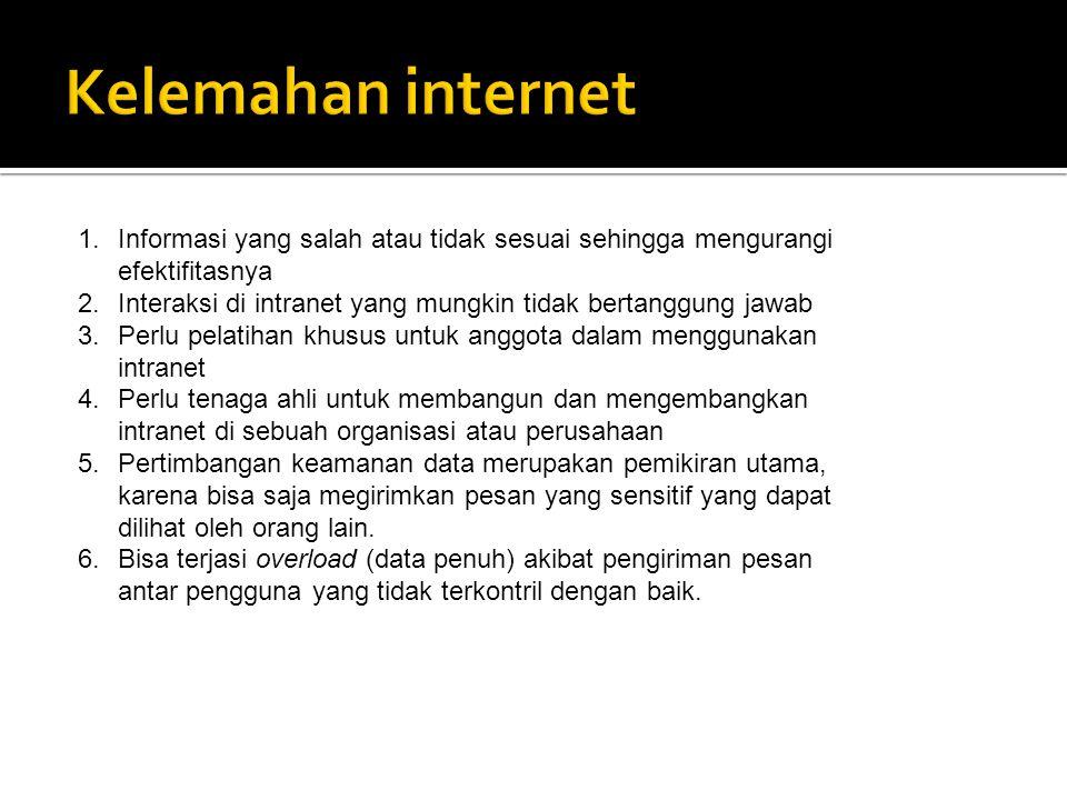1.Informasi yang salah atau tidak sesuai sehingga mengurangi efektifitasnya 2.Interaksi di intranet yang mungkin tidak bertanggung jawab 3.Perlu pelat