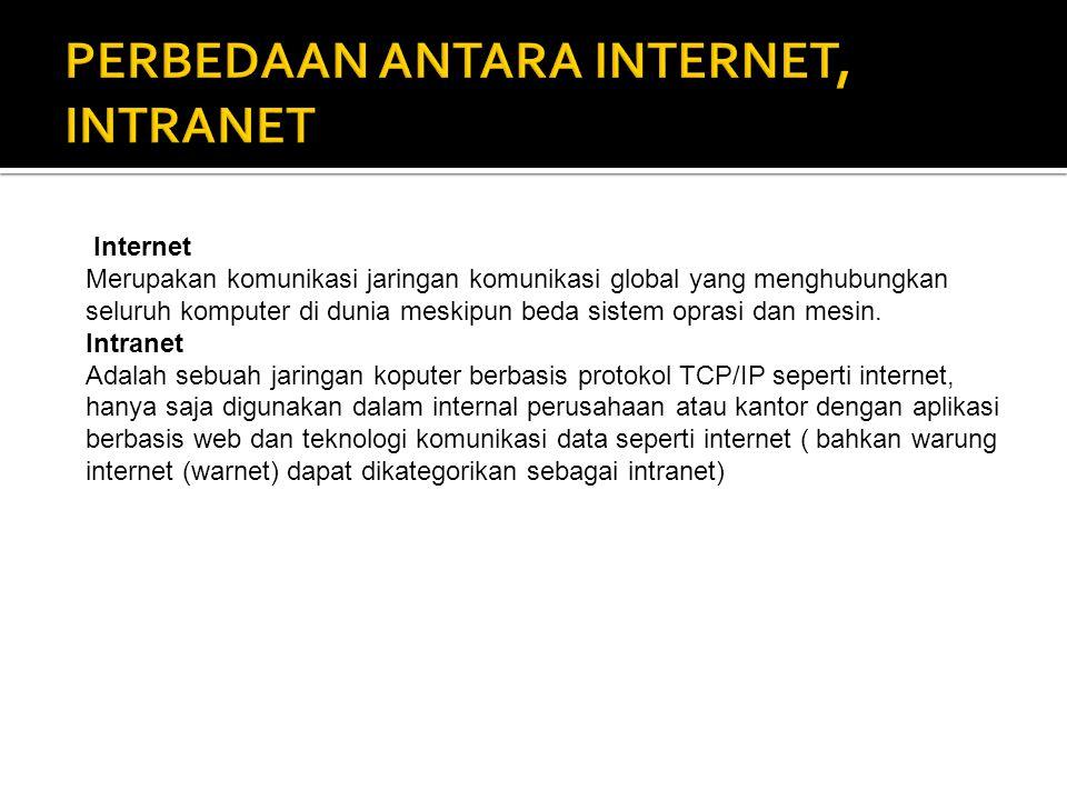Internet Merupakan komunikasi jaringan komunikasi global yang menghubungkan seluruh komputer di dunia meskipun beda sistem oprasi dan mesin. Intranet