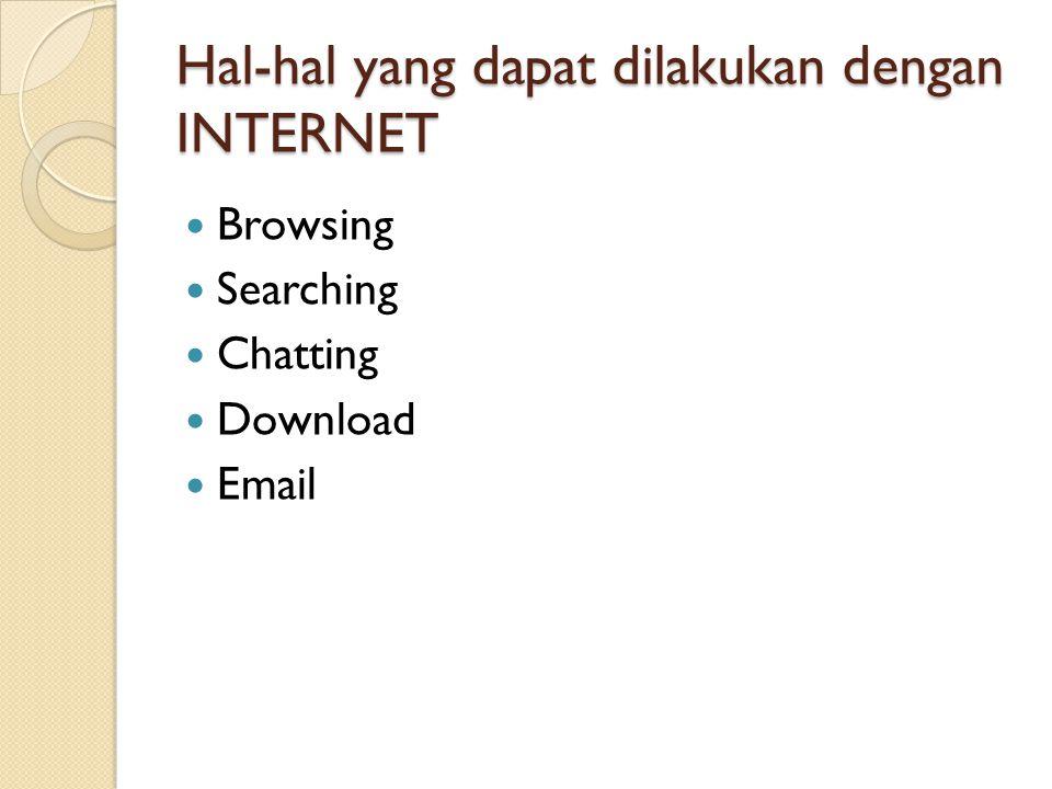 Hal-hal yang dapat dilakukan dengan INTERNET  Browsing  Searching  Chatting  Download  Email