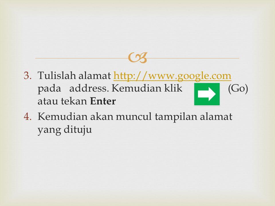  3.Tulislah alamat http://www.google.com pada address. Kemudian klik (Go) atau tekan Enterhttp://www.google.com 4.Kemudian akan muncul tampilan alama
