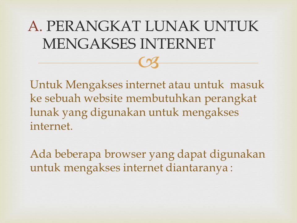  A. PERANGKAT LUNAK UNTUK MENGAKSES INTERNET Untuk Mengakses internet atau untuk masuk ke sebuah website membutuhkan perangkat lunak yang digunakan u