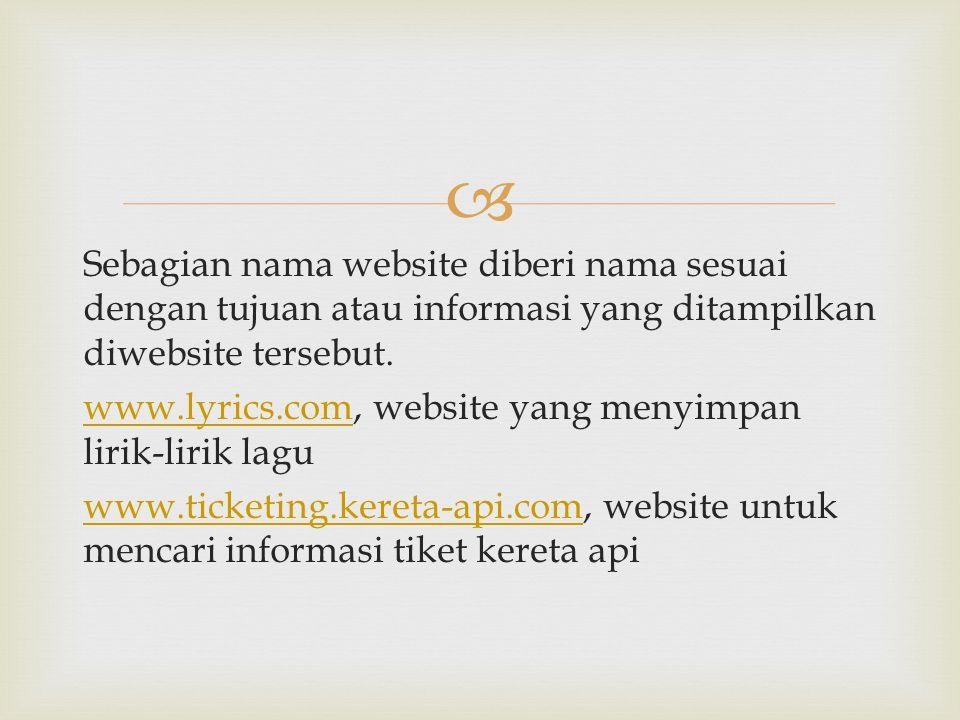  Sebagian nama website diberi nama sesuai dengan tujuan atau informasi yang ditampilkan diwebsite tersebut. www.lyrics.comwww.lyrics.com, website yan