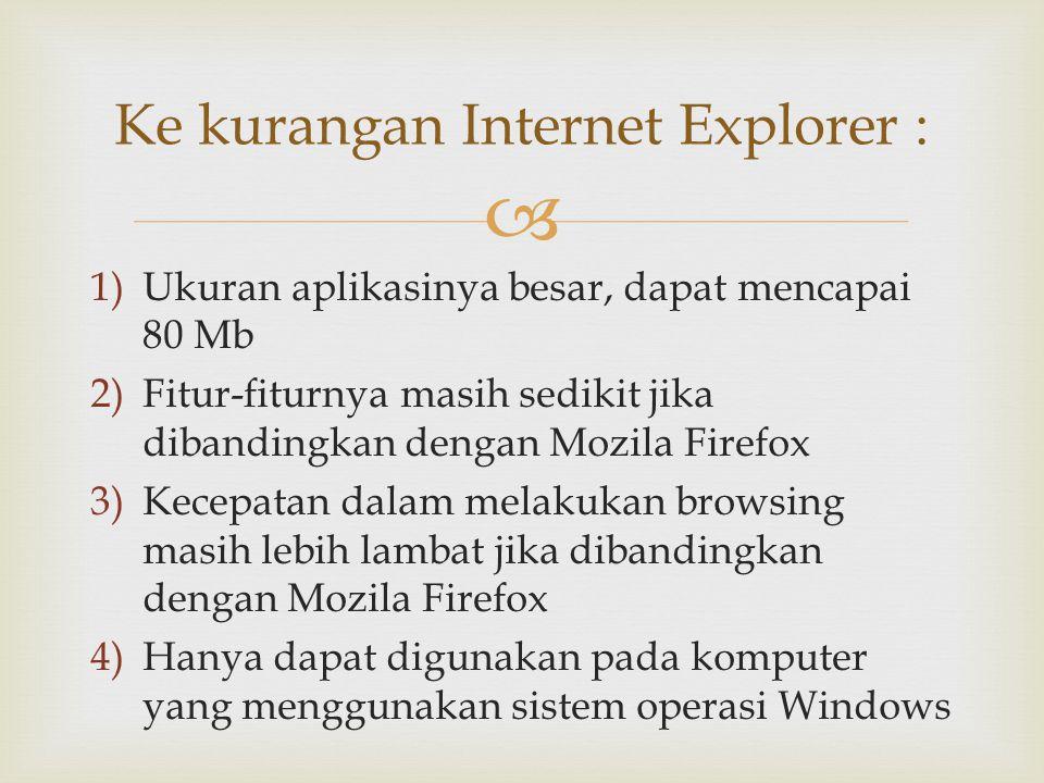  1)Ukuran aplikasinya besar, dapat mencapai 80 Mb 2)Fitur-fiturnya masih sedikit jika dibandingkan dengan Mozila Firefox 3)Kecepatan dalam melakukan