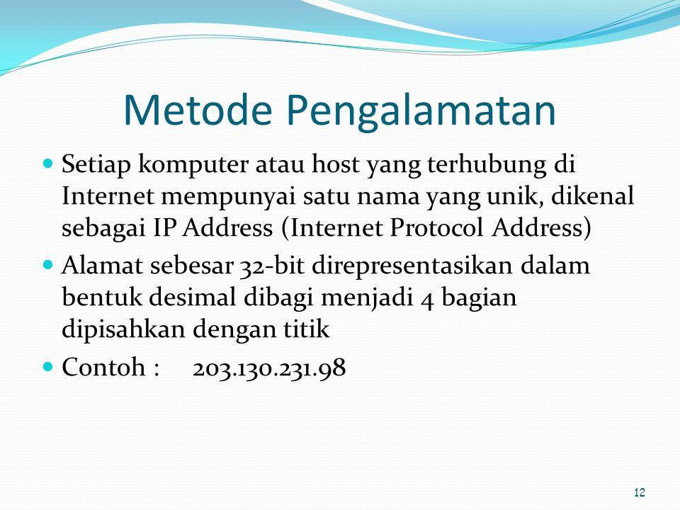 12 Metode Pengalamatan  Setiap komputer atau host yang terhubung di Internet mempunyai satu nama yang unik, dikenal sebagai IP Address (Internet Prot