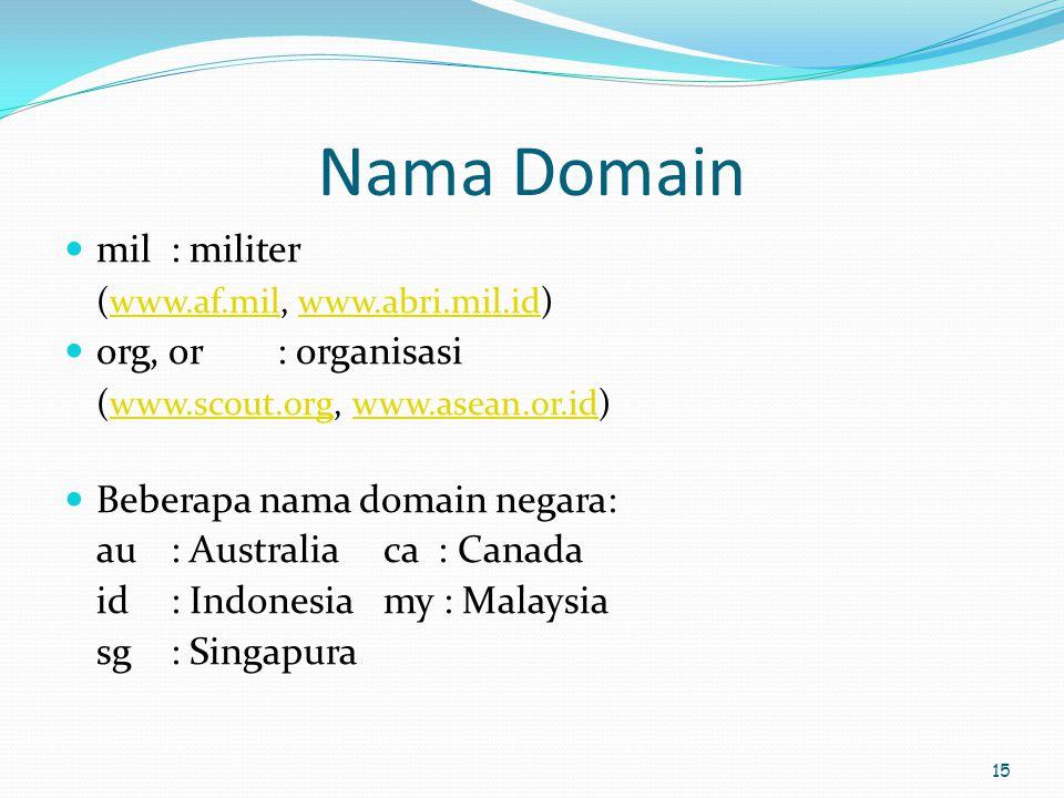 15 Nama Domain  mil : militer (www.af.mil, www.abri.mil.id)www.af.milwww.abri.mil.id  org, or: organisasi (www.scout.org, www.asean.or.id)www.scout.