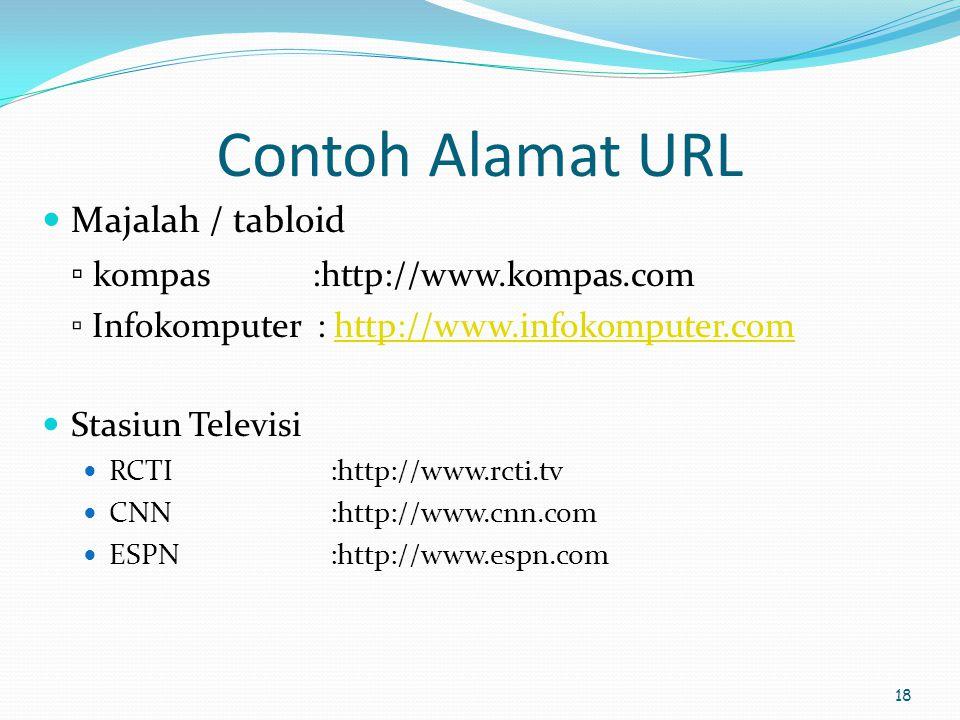 18 Contoh Alamat URL  Majalah / tabloid ▫ kompas :http://www.kompas.com ▫ Infokomputer : http://www.infokomputer.comhttp://www.infokomputer.com  Sta