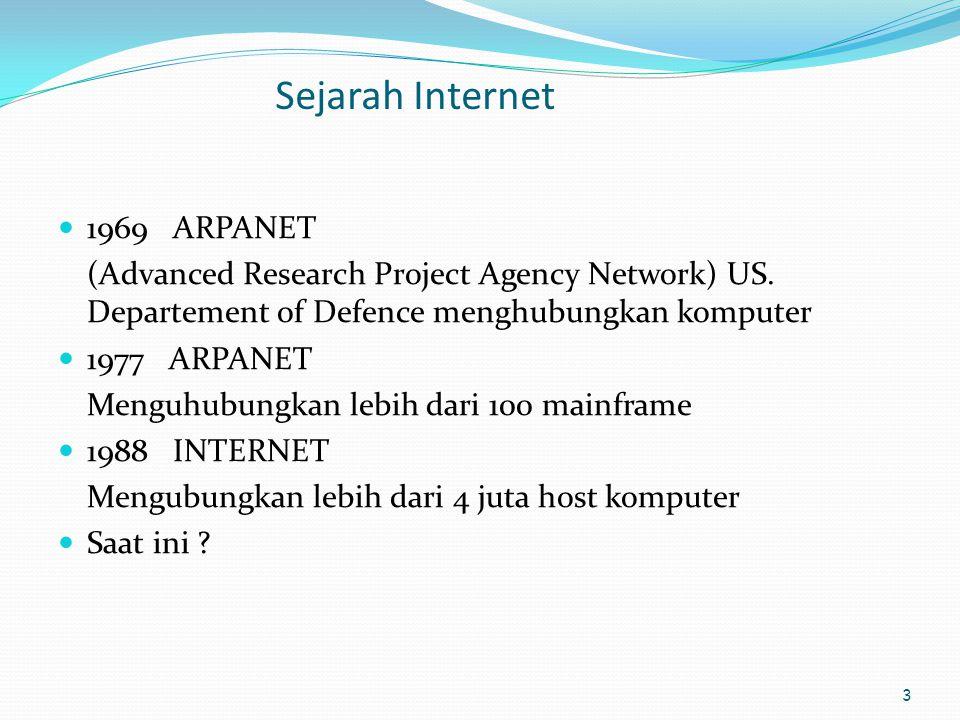 3 Sejarah Internet  1969 ARPANET (Advanced Research Project Agency Network) US. Departement of Defence menghubungkan komputer  1977 ARPANET Menguhub
