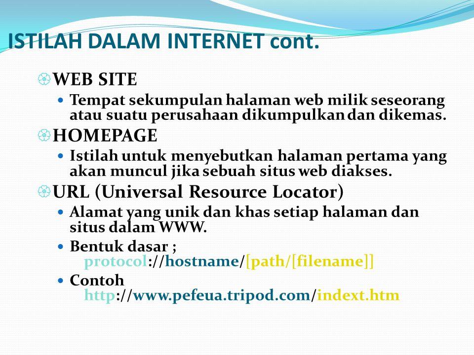 ISTILAH DALAM INTERNET cont.  WEB SITE  Tempat sekumpulan halaman web milik seseorang atau suatu perusahaan dikumpulkan dan dikemas.  HOMEPAGE  Is
