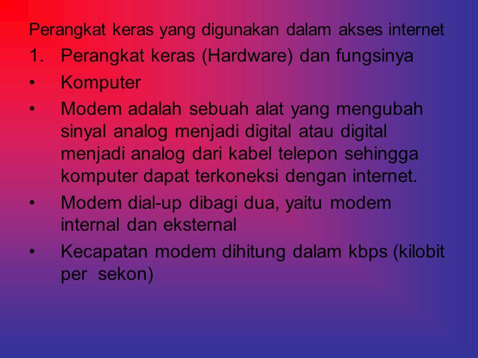 Perangkat keras yang digunakan dalam akses internet 1.Perangkat keras (Hardware) dan fungsinya •Komputer •Modem adalah sebuah alat yang mengubah sinya