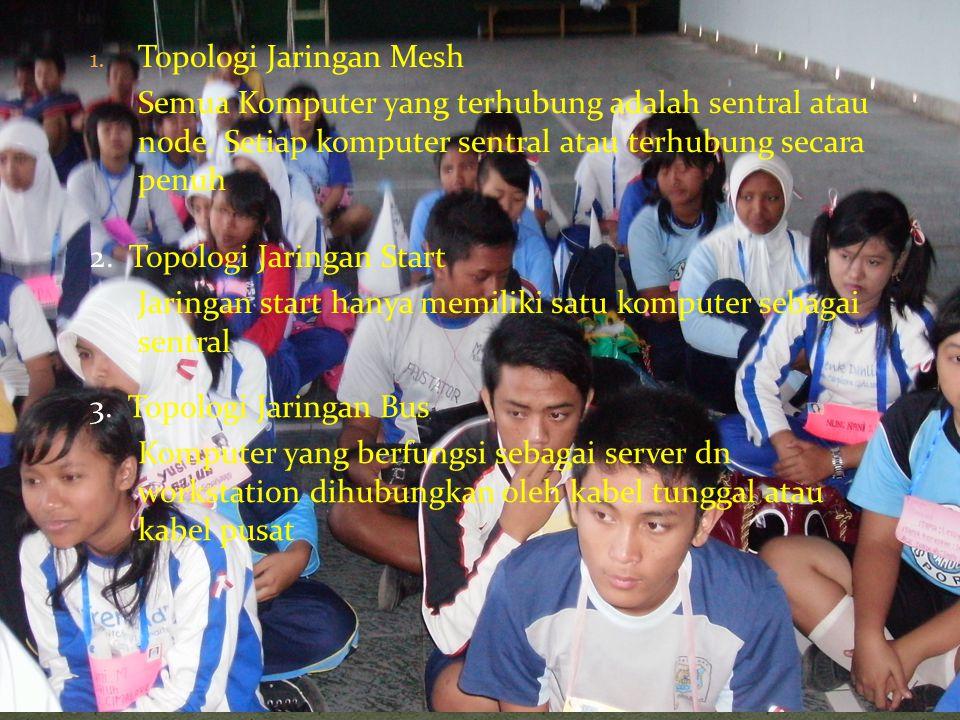 1. Topologi Jaringan Mesh Semua Komputer yang terhubung adalah sentral atau node. Setiap komputer sentral atau terhubung secara penuh 2. Topologi Jari