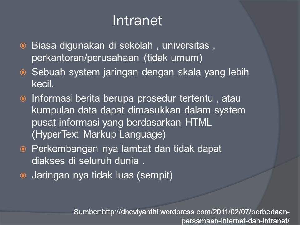 Intranet  Biasa digunakan di sekolah, universitas, perkantoran/perusahaan (tidak umum)  Sebuah system jaringan dengan skala yang lebih kecil.  Info