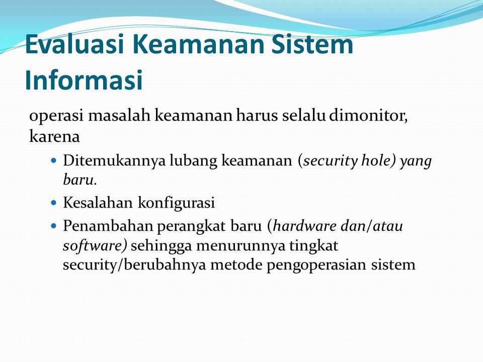 Evaluasi Keamanan Sistem Informasi operasi masalah keamanan harus selalu dimonitor, karena  Ditemukannya lubang keamanan (security hole) yang baru. 
