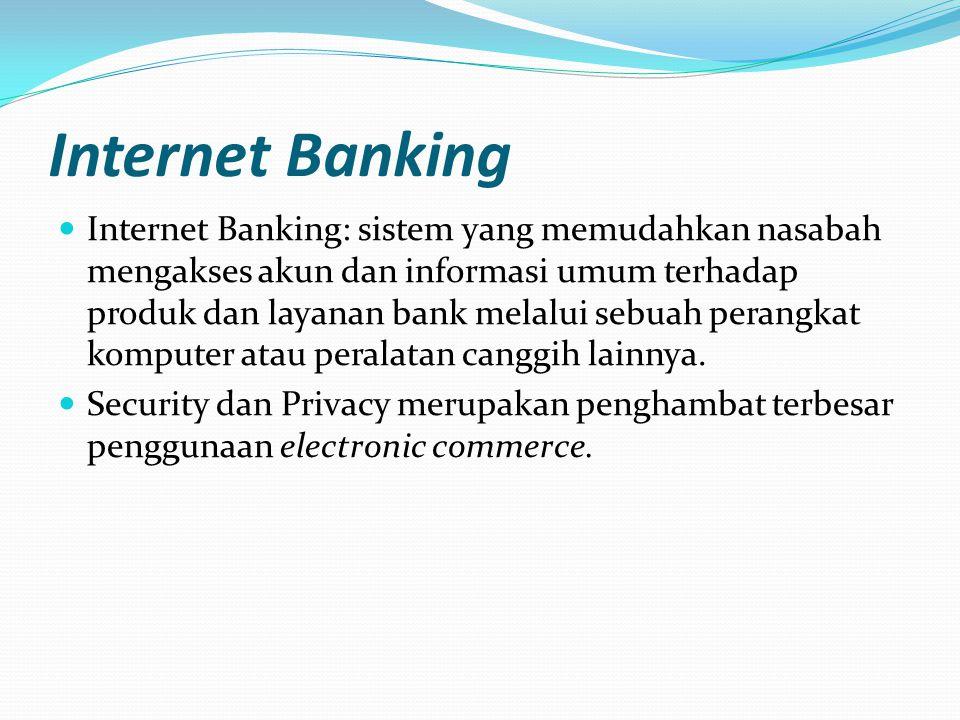 Internet Banking  Internet Banking: sistem yang memudahkan nasabah mengakses akun dan informasi umum terhadap produk dan layanan bank melalui sebuah perangkat komputer atau peralatan canggih lainnya.