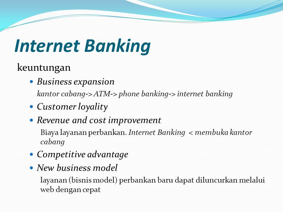 Internet Banking keuntungan  Cukup dari Meja Kerja  Tanpa Batasan Waktu  Cakupan Global  Siapapun bisa menikmati kemudahannya  Fitur Layanan yang beragam  Aman dan terlindung  Satu akses untuk semua produk  Pendaftaran yang mudah
