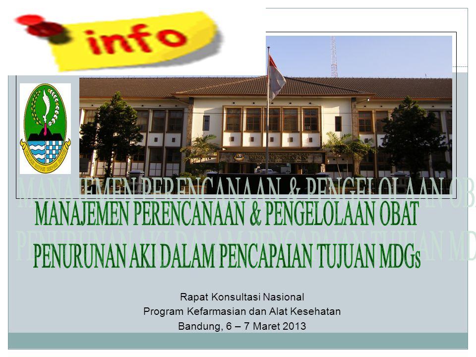Rapat Konsultasi Nasional Program Kefarmasian dan Alat Kesehatan Bandung, 6 – 7 Maret 2013