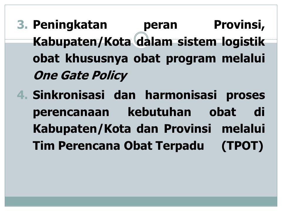 3.Peningkatan peran Provinsi, Kabupaten/Kota dalam sistem logistik obat khususnya obat program melalui One Gate Policy 4.Sinkronisasi dan harmonisasi proses perencanaan kebutuhan obat di Kabupaten/Kota dan Provinsi melalui Tim Perencana Obat Terpadu (TPOT)
